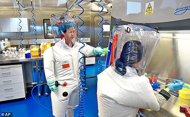 The WIV is the high security lab which specialises in manipulating dangerous coronaviruses at the centre of the alleged cover-up. Pictured: Researchers in the lab in February 2017
