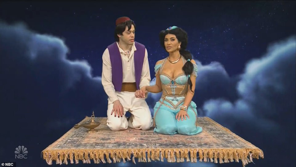 A whole new world:After the break, Kim was back in a sketch inspired by Disney's Aladdin, with Pete Davidson playing the eponymous character while she was dressed as Jasmine on a flying carpet