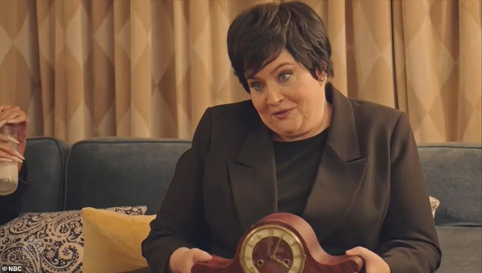 Even freakier:Then Kim burst into the room and battled for the clock with Aidy, but the turmoil ended up switching the SNL star with her mother Kris