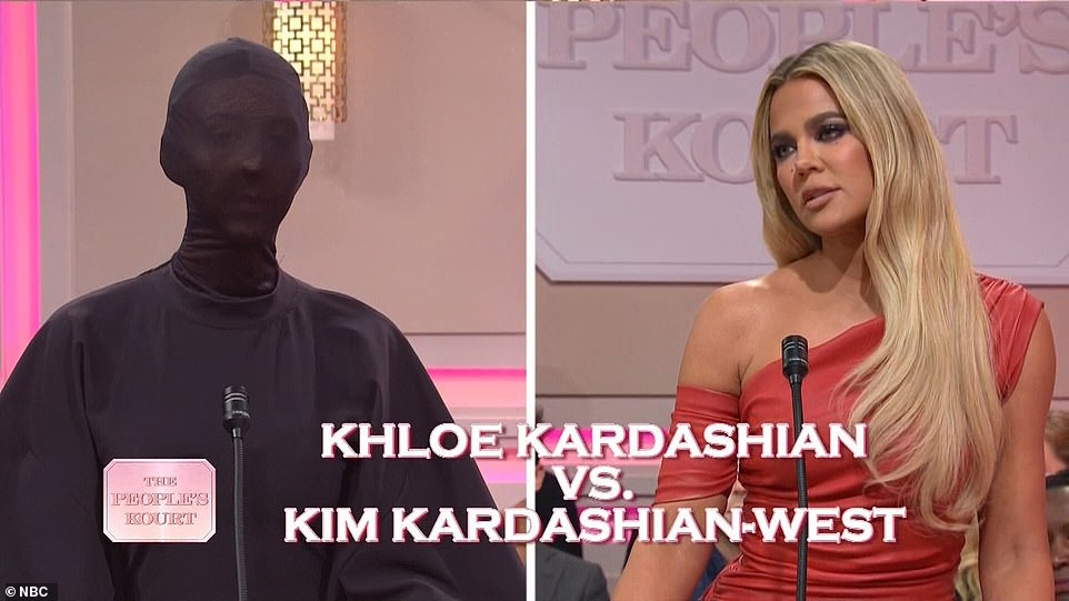 Family battle:Her real-life sister Khloé played herself as she took Kim (played by Heidi Gardner) to Kourt for stealing her makeup artist. She joked that Kim was in her Met Gala outfit, so no one could see her face