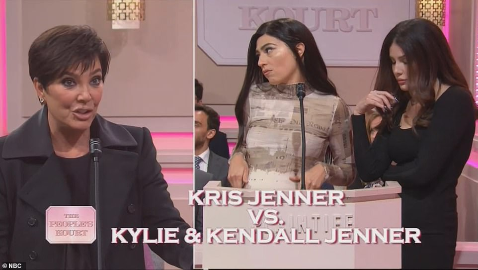 Bitter:Kris was back to sue Kylie Jenner (Melissa Villaseñor) and Kendall Jenner (played by Halsey). She took Kylie to court to get her to give birth faster, and she sued Kendall because she was too boring on KUWTK