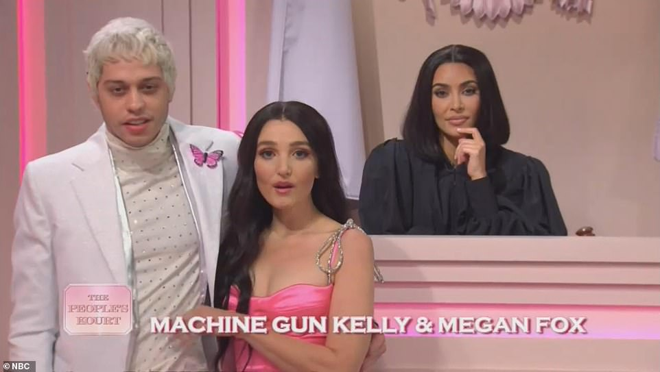 Nailed it:Pete Davidson did an impeccable impression of his pal Machine Gun Kelly, who was with Chloe Fineman playing Kourtney's new friend Megan Fox