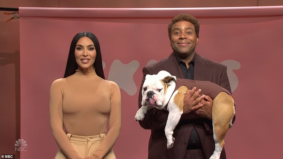 Goofy:Kenan played D'Ennis, head designer of Skims for thick dogs. He brought out a big bull dog with a little brown suit, before Heidi showed off another pooch in a tan outfit