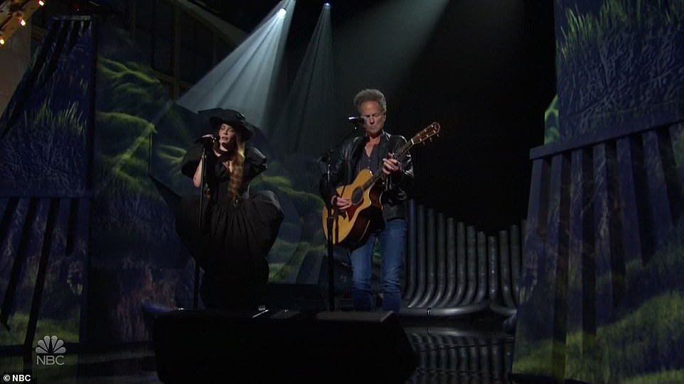 Sweet:She was back for her second and final song with Lindsey Buckingham of Fleetwood Mac providing acoustic guitar