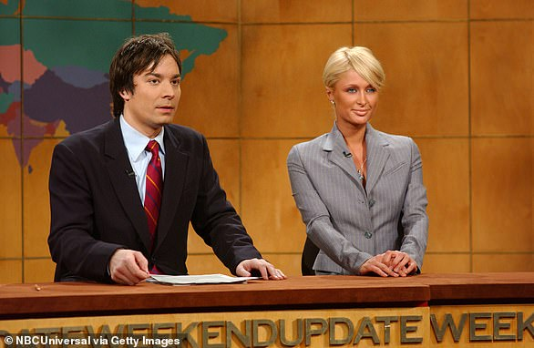 Pictured: (l-r) Jimmy Fallon, Paris Hilton during Weekend Update on December 6, 2008