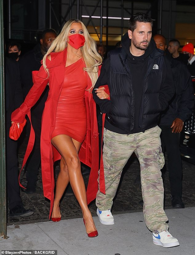 Bold look: Khloe caught the eye in a thigh-skimming red leather minidress during her latest public appearance