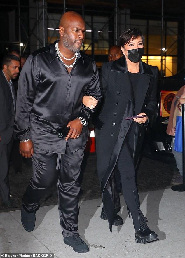 Family: Mum Kris Jenner arrived with her long-term boyfriend Corey Gamble