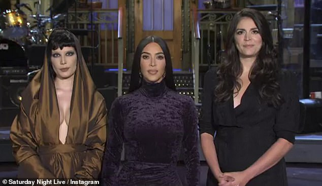 Sinking her teeth in: Kim Kardashian showcased her acting chops as she questioned whether she will 'look the best' in a hilarious promo for her hosting debut on Saturday Night Live