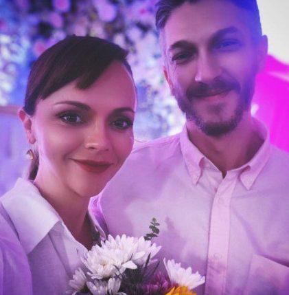 Christina Ricci and Mark Hampton in wedding photo