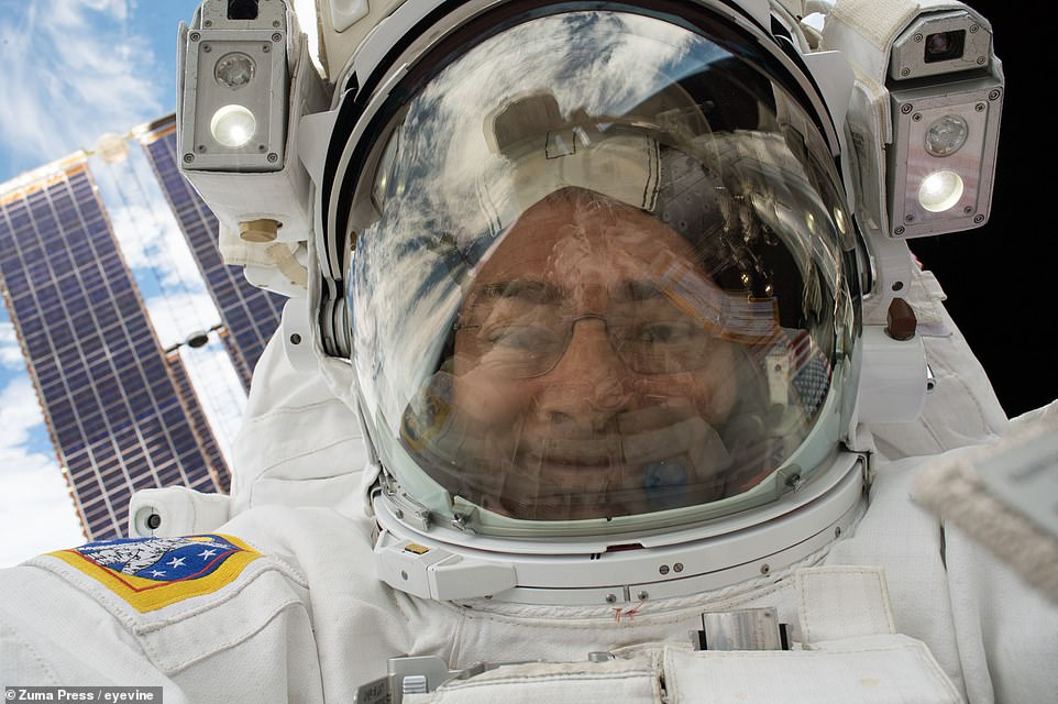 Mark Vande Hei of NASA takes a self-portrait on January 23, 2018, during an excursion to repair one of the ISS's robotic arms.