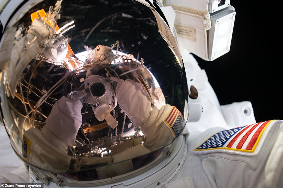 NASA astronaut Kate Rubins during an EVA on August 19, 2016 to install an international docking adaptor onto the ISS. The adaptor allows commercial spacecraft from Boeing and SpaceX to dock with the orbiting station.