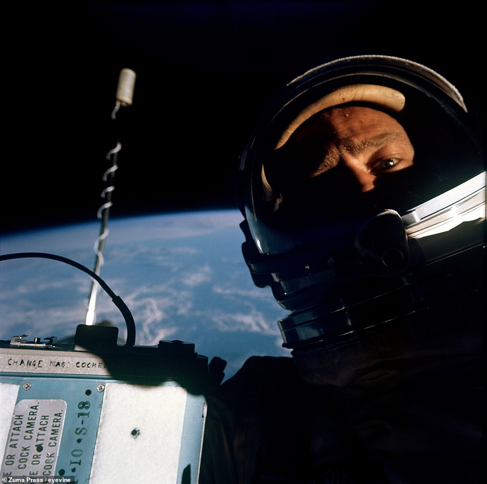 The first ever space selfie was taken by NASA astronaut Buzz Aldrin while doing EVA outside of the Gemini 12 spacecraft on November 12, 1966. In proving that astronauts can effectively work in space, the Gemini program helped pave the way for the Apollo program to famously put Aldrin and Neil Armstrong on the surface of the moon on July 20, 1969.