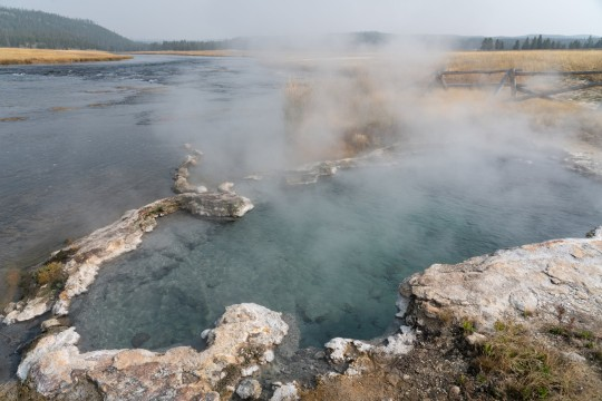 The Mainden's Grave Spring by the Firehole River on the Fountain Flats Drive in Yellowstone National Park in Wyoming is where Laiha Slayton burned 91% of her body trying to rescue her puppy from the hot spring