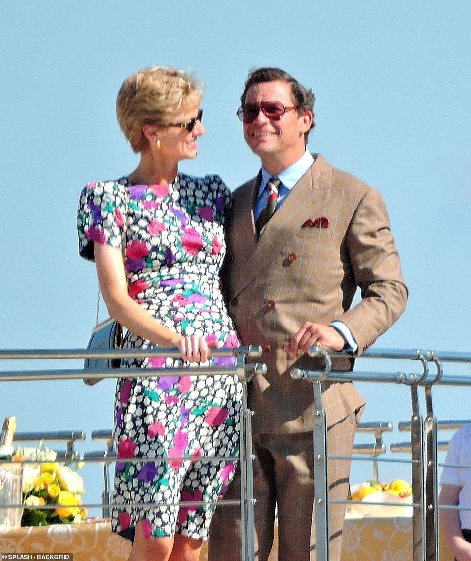 Troubled marriage: The actress, 31, was joined on location by Dominic 51, as they boarded the Christina O Valletta yacht off shore of the Balearic Island, in scenes recreating the pair's trip to Seville, Spain in 1992