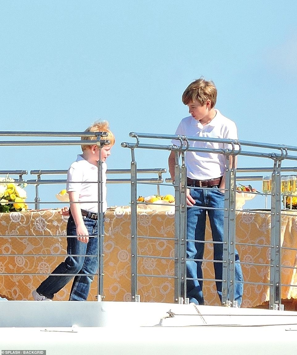 Family:Child actors Timothee Sambor, 11, and Teddy Hawley, seven, who play Prince William and Prince Harry , respectively were also seen on the boat wearing matching white polo shirts