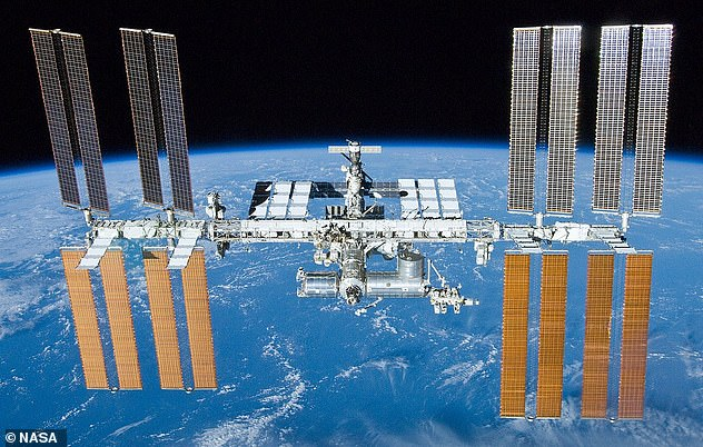 The International Space Station (ISS, pictured), which is 357.5 feet wide and 239.4 feet in length, completes an entire orbit around the Earth once every 90 minutes