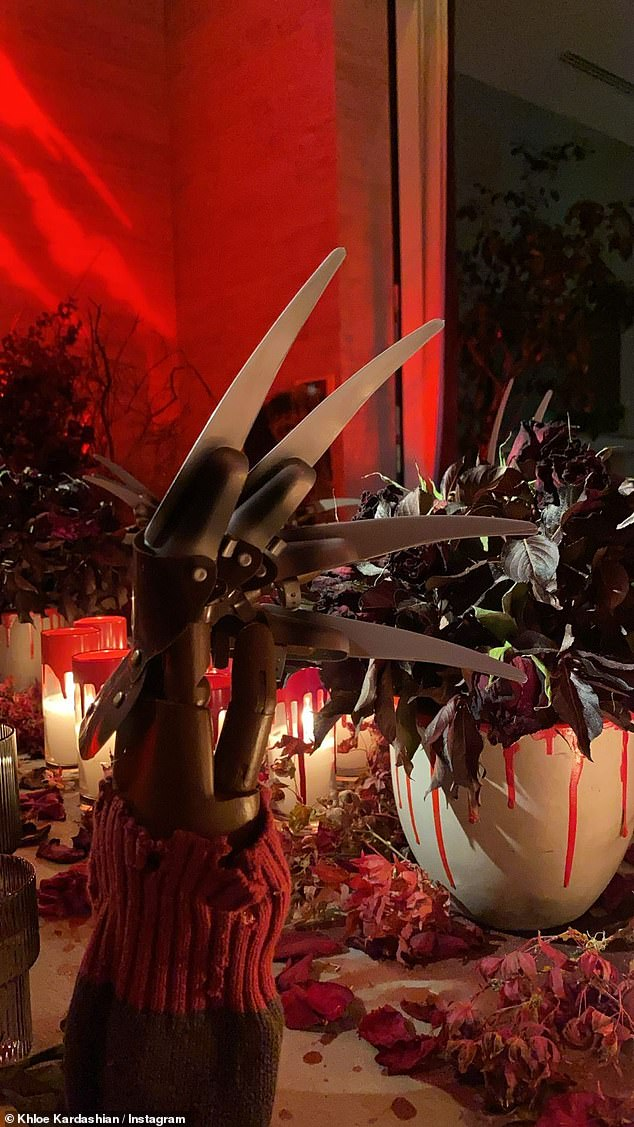 Details:Going all out with the Nightmare On Elm Street theme, Kylie threw a gory dinner party for her close friends and family which featured many direct nods to the 1984 film and its crossover Freddy Vs. Jason
