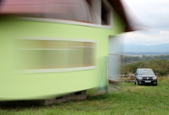 Vojin Kusic house is seen while rotating by electric motors and wheels from a military transporter in Srbac, Bosnia and Herzegovina, October 9, 2021. REUTERS/Dado Ruvic