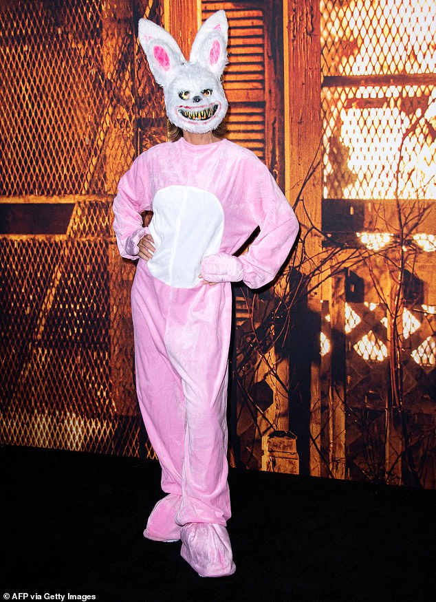 Spooktacular: Adding a scary touch Rinna was seen donning a creepy bunny mask in some images