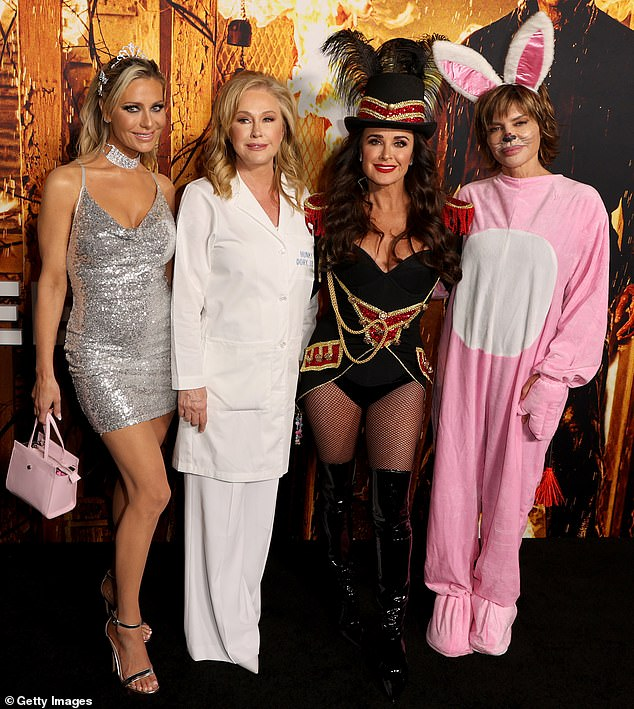 United front: Fellow Beverly Hills housewives (left to right) Dorit Kemsley, Kathy Hilton and Kyle Richards were all seen at the film premiere, and it marks the first time since Richards has reprised her role in the Halloween franchise since 1978