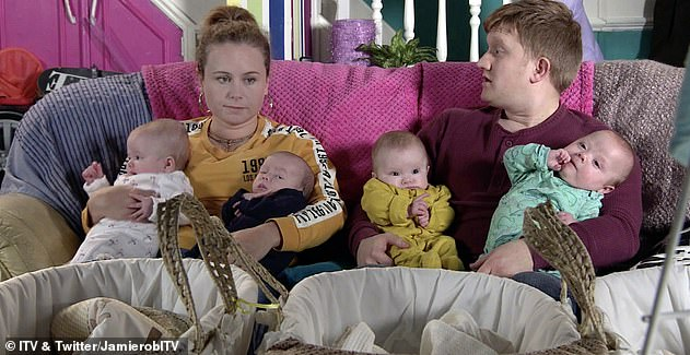 More babies? Sam plays Coronation Street character Chesney who is parenting quads on the popular ITV soap and he revealed that he and Briony would love to have a big family