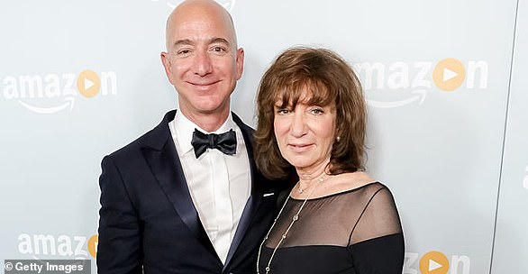 His mother, Jacklyn Bezos (pictured right), saved the home-made toys for 48 years and dug them out a week before the launch, prompting Bezos (left) to ask Shatner to take them with him into space, adding 'please don't judge me for the artwork. Thank you, Bill!'