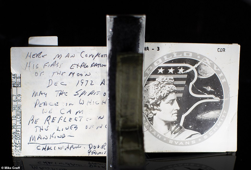 The small book also included notes made Cernan for a speech he gave on December 4 - the last words spoken from the moon
