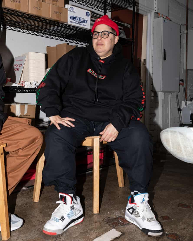 DJ Yo Mafia models Sauls x Ichpig's merchandise.