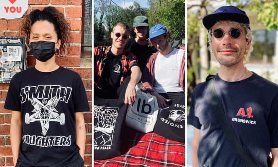 Rico at Smith and Daughters; James in an A1 Bakery tee; Eric, Harriet and Dan at a picnic.
