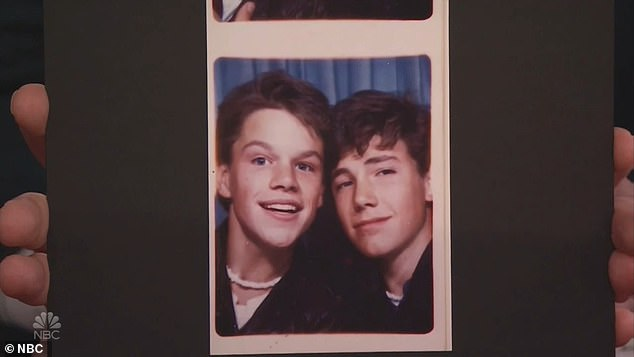 Old friends:Jimmy also then said that he knew that Matt and Ben were longtime good friends and for proof showed a photo of the two of them at 17 in a photo booth