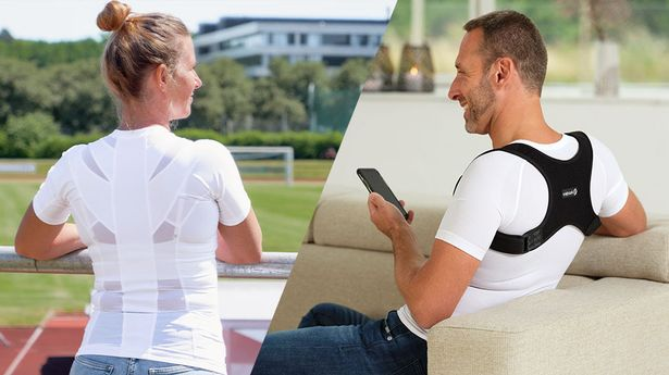 An image of collage made up of two images. One image is a man wearing a posture brace while smiling. The other image is of a woman wearing the same posture brace looking out at a sports pitch and smiling.