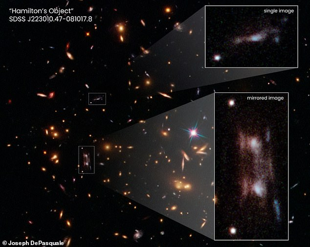 Astronomers using the Hubble found a new galaxy 11 billion light-years away.They were looking at galaxy cluster SDSS J223010.47-081017.8 when they saw an exact reflection of the galaxy and its companion