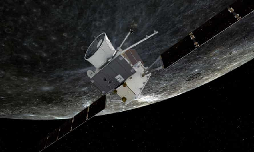 An artist impression of BepiColombo flying by Mercury.