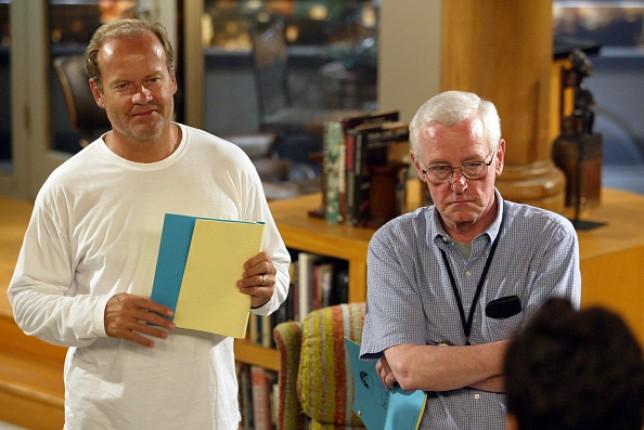 Kelsey Grammer and John Mahoney on the set of Frasier