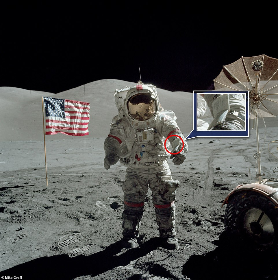 NASA astronaut Eugene Cernan wore the Apollo 17 EVA-3 cuff checklist while trekking across the moon in 1972 – the last time man was on the lunar surface – and the historic notes are now up for grabs