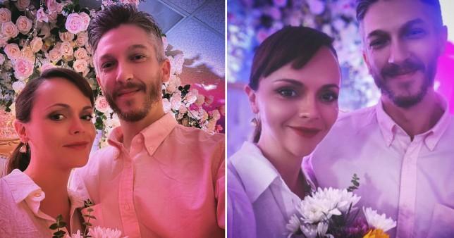Christina Ricci and Mark Hampton in wedding photos