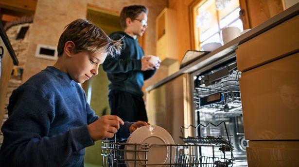 Two boys loading the dishwasher