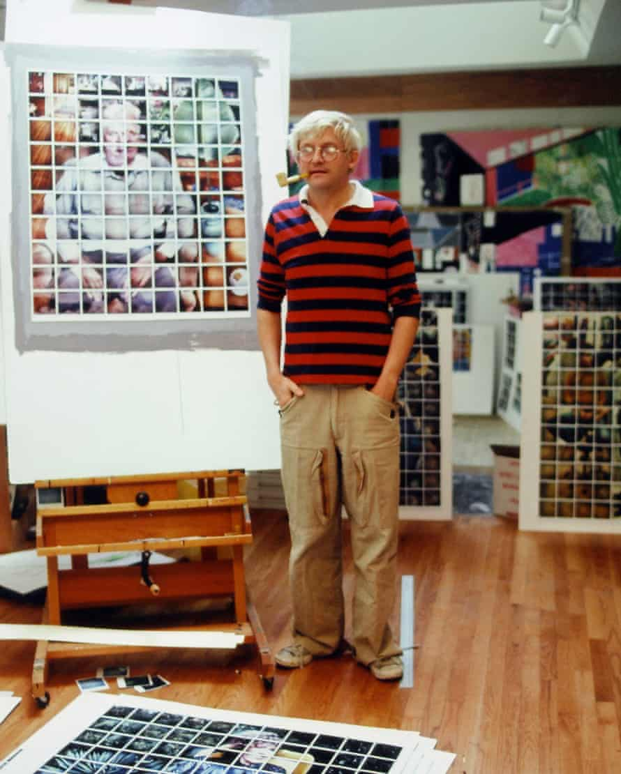 The artist David Hockney sporting a rugby jersey in Los Angeles in 1978.