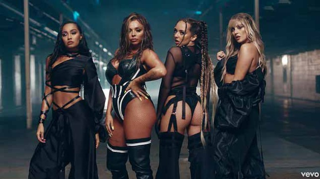 Little Mix in the sweet melody music video https://www.dailymail.co.uk/tvshowbiz/article-8872829/Little-Mixs-Jade-Thirlwall-turns-heat-suspenders-sheer-Sweet-Melody-video.html