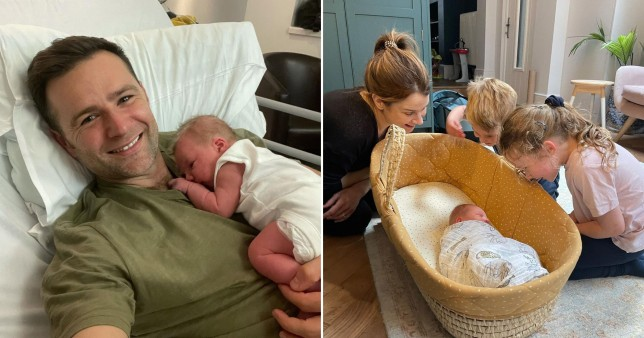 Harry and Izzy Judd with their newborn son
