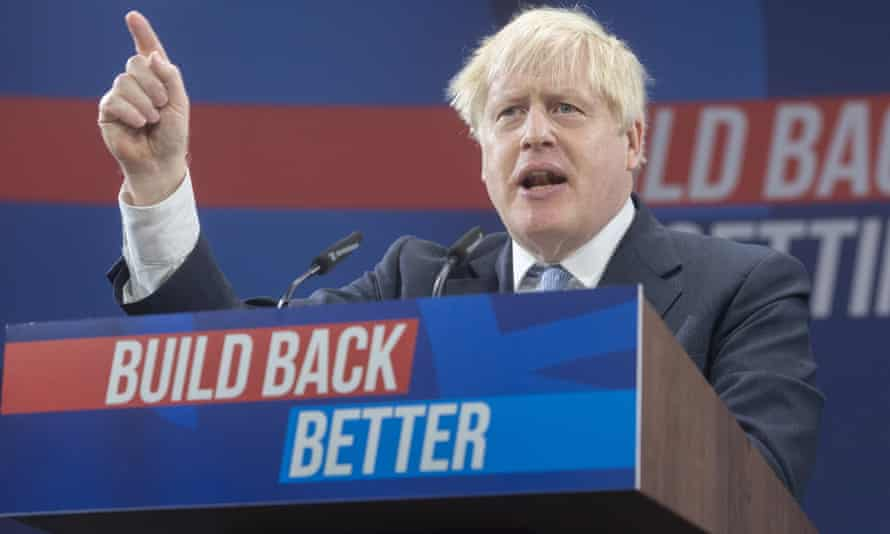 Boris Johnson speaking at the Conservative party's 2021 annual conference in Manchester.