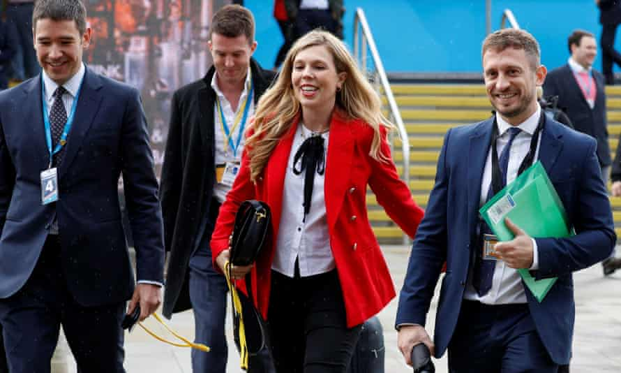 Carrie Johnson arrives at the Conservative party conference in Manchester.