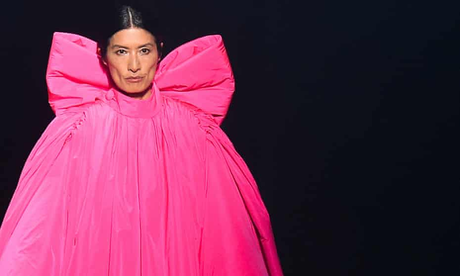 A model presents a pink creation during the AZ Factory tribute show to late Israelian fashion designer Alber Elbaz