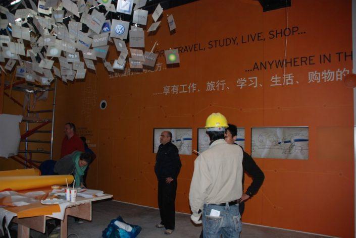textile adhésif - montage de l'expo universelle Shanghai