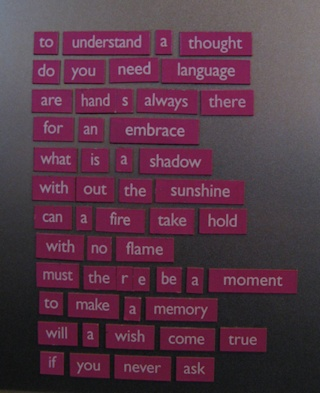 """photo of poem made up of word magnets"""""""