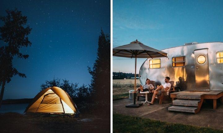 tält eller husvagn