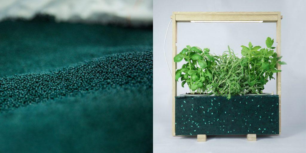 ocean waste and fresh herbs