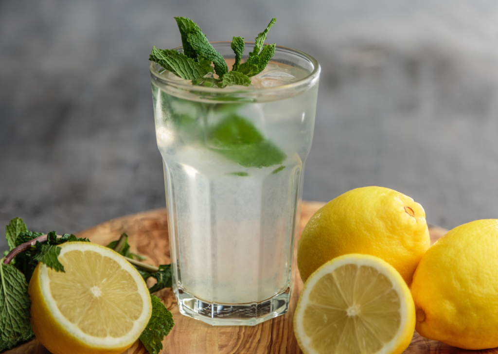 infused water with mint and lemon