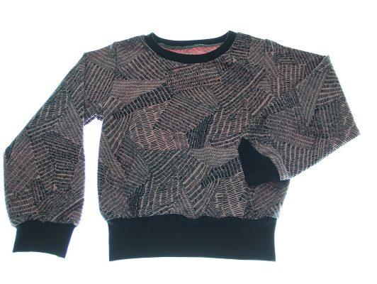 Sweatshirt-gl.rosa-sorte-streger-116