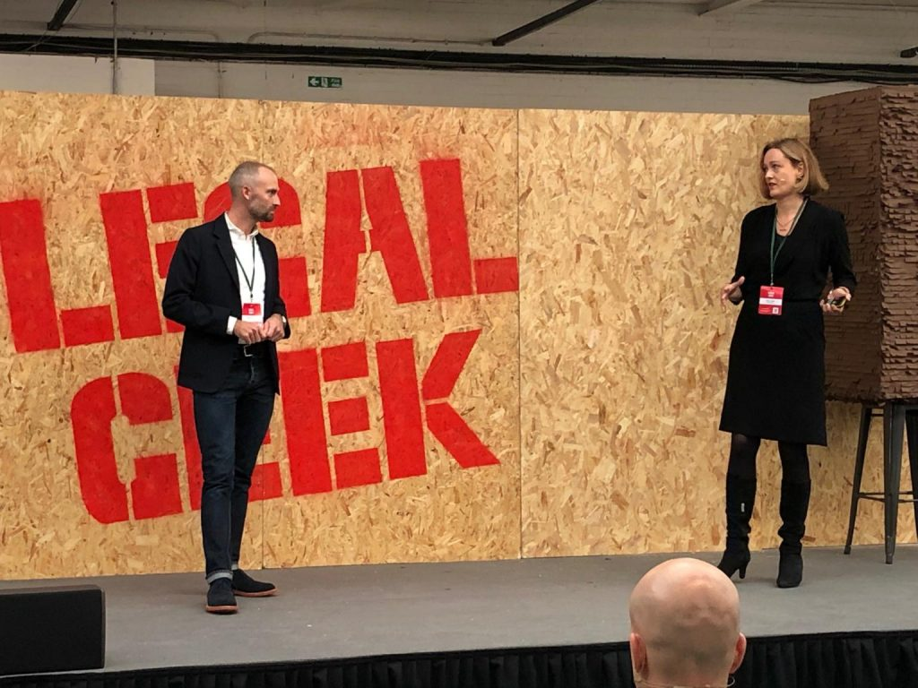 Photo of Torsten Torpe speaking at LegalGeek London 2019